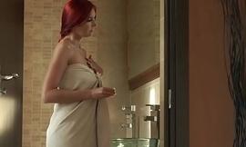 Euro redhead masturbating under the shower