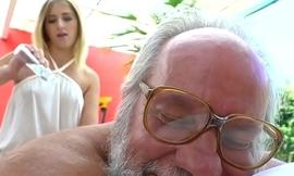 Teen masseuse fucked by lucky grandpa