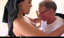 Old man makes young Hinduism ashram nun fornicate