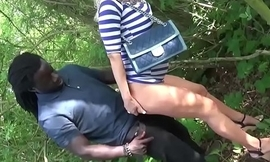 Black and Sallow Guy Seduce German Teen Alex to Fuck in Greens