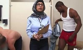 Arab hottie disrobes in library