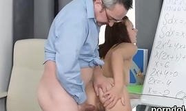 Fervent schoolgirl is tempted and penetrated by aged teacher
