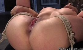 Busty sub feet caned and ass flogged in hogtied