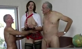 Mature british lady here stockings fucks two dirty old men