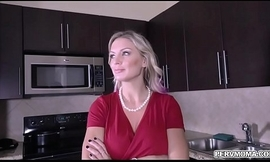 Blonde shoplifter MILF Kenzie Taylor got turned added to blackmailed by stepson added to performs a handsfree blowjob while wearing handcuffs.