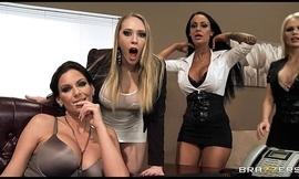 Four Hot big-boob office sluts fuck boss'_ big-dick in office orgy