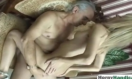 Amputee Old Guy Gets Lucky Concerning Blonde Teen