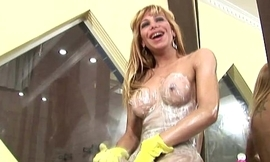 Tons of lotion and anal fingering makes this shebabe jizz
