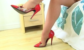 English milf Red finger fucks her pantyhosed fanny