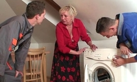 Two repairmen bang busty grandma from the one and the other ends