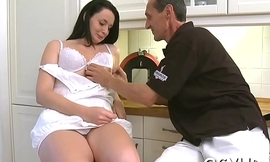 Pretty young gal fucked by old stud
