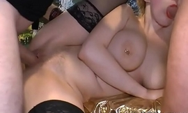 Cumshots on big boobs with bukkakes