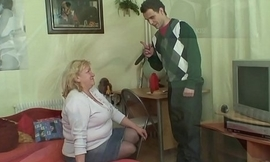 Huge age-old grandma gives head and rides dick