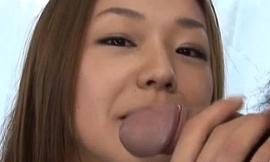 Sakura Hirota sex-mad Oriental milf shows hawt oral genius with banana