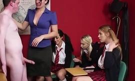 Brit teacher sucks sub in front of students