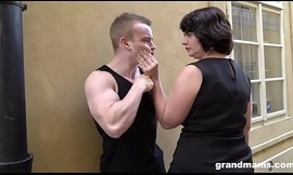 Fat mature wife pays youthful boy 50 Euros for a blowjob