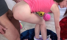 Pigtailed legal age teenager widely applicable gets bald vagina cum on