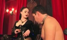 Smoking bdsm mistress caging her pathetic sub