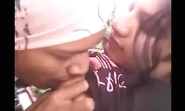 Desi college girl with bf far outdoor jungle
