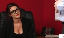 Office beauty instructing wanking sub