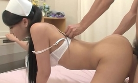 Smooth Asian nurse getting banged from the back doggy style so hard