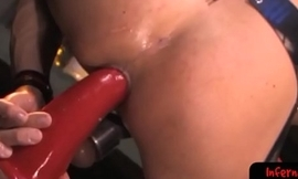 Kinky bdsm stud takes massive dildo